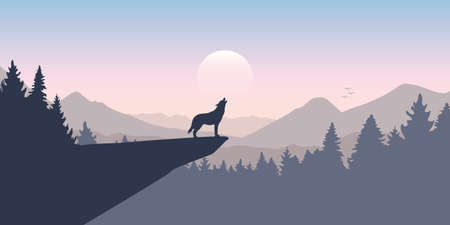 wolf howls to the full moon in forest on mountain landscape
