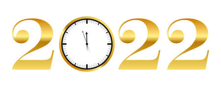 clock shortly before 2022 new year gold typography