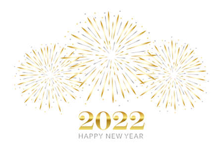 happy new year greeting card 2022 with gold and silver firework