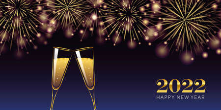 happy new year 2022 golden firework and champagne glasses greeting card