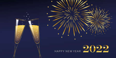 happy new year celebration fireworks and champagne 2022