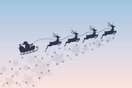 christmas banner santa claus in a sleigh with reindeer