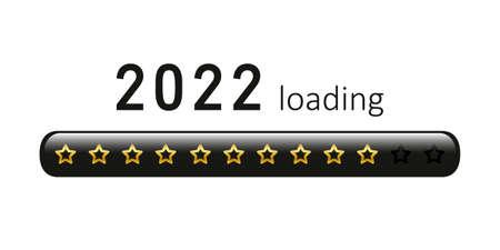 2022 loading golden bar with stars on white