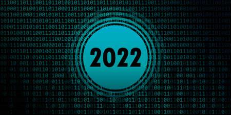 2022 new year on blue green binary code background Vettoriali