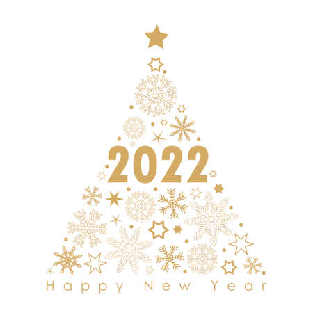 2022 golden christmas tree with snowflakes and stars on a black background