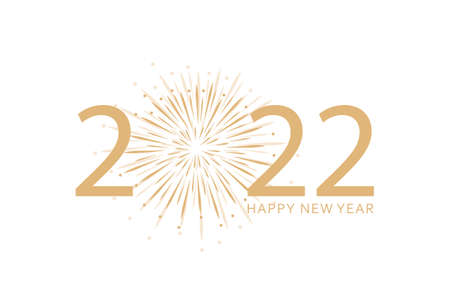 happy new year 2022 typography with fireworks on white