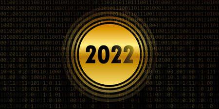2022 new year on golden binary code background Vettoriali