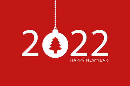 happy new year 2022 typography with hanging christmas ball Vettoriali