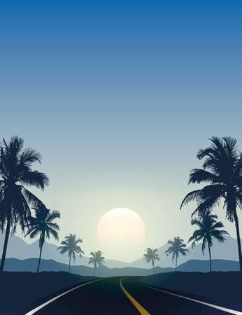 summer paradise road trip beautiful sunset tropical palm Vettoriali