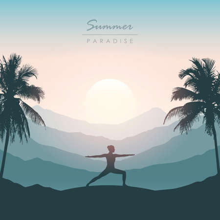 girl doing yoga for body and soul silhouette on tropical palm background