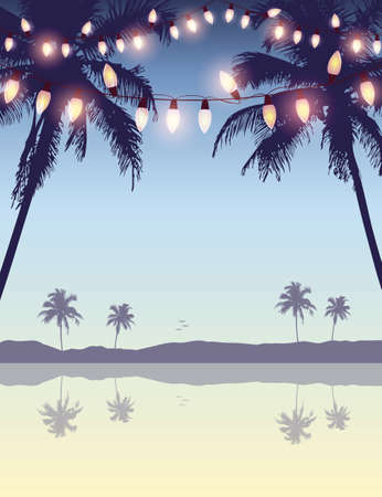 tropical summer paradise background with fairy light and palm leaves