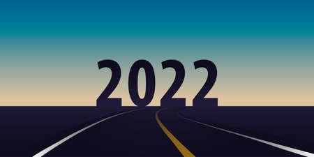 asphalt road direction 2022 on sunrise horizon background Vettoriali