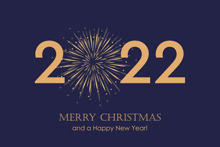 happy new year 2022 typography with firework background Vettoriali