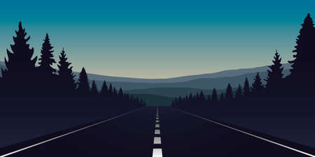 asphalt road in forest and mountains by night
