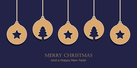 christmas card with star tree balls decoration