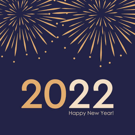 happy new year firework 2022 on blue background