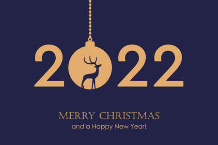 happy new year 2022 typography with hanging christmas ball vector illustration Vettoriali