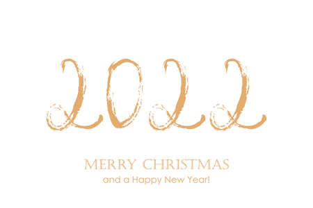 2022 typography for christmas and new year isolated on white background Vettoriali