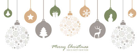 merry christmas card with hanging ball decoration