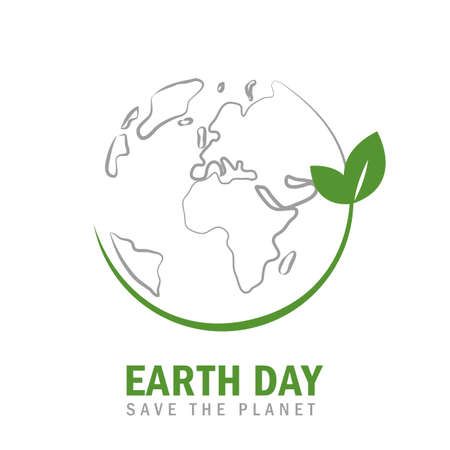 earth day globe environmentalism symbol with green leaves