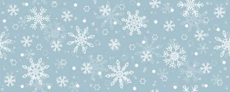 christmas seamless snowflake and star background on blue