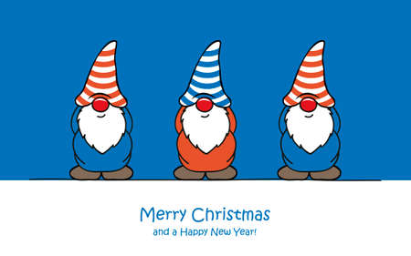 merry christmas greeting card with cute funny dwarf Vettoriali