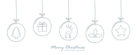 christmas card with tree balls decoration on white
