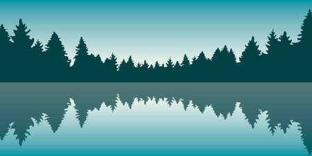 beautiful lake at sunrise pine forest nature landscape Иллюстрация