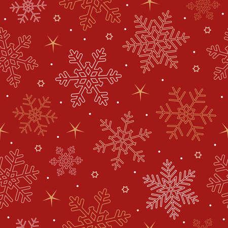 christmas seamless snowflake and star background on white Иллюстрация