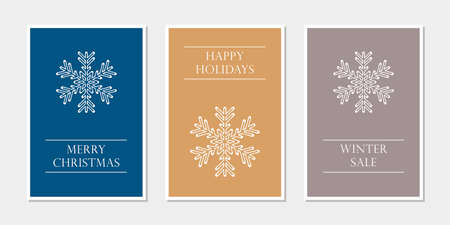 set of christmas greeting cards with snowflake