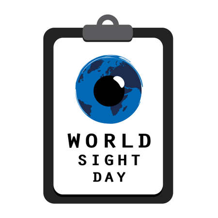 world sight day blue eye on a clipboard with vision test Иллюстрация
