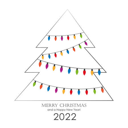 christmas tree with colorful fairy lights greeting card