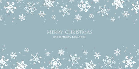 blue banner christmas card with snowflake border