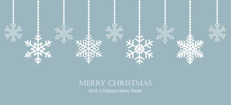 blue and white hanging snowflakes christmas background Иллюстрация