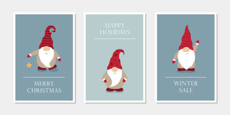 set of christmas greeting cards with cute funny gnome