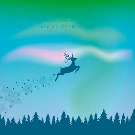 magic flying reindeer christmas design with polar lights