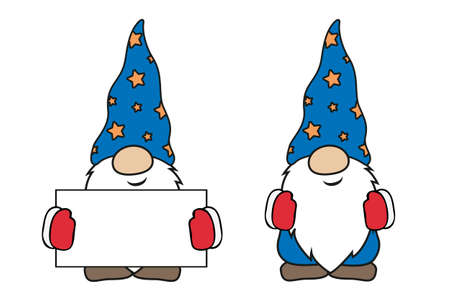 christmas cute gnomes with red and blue clothes and blank card Иллюстрация