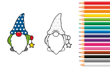 cute dwarf for coloring book with pencils