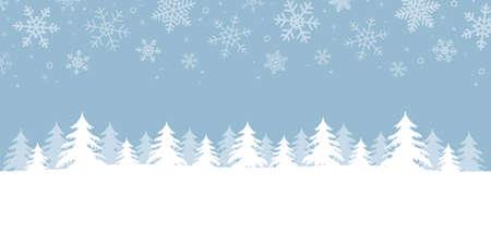blue winter landscape fir border with snow