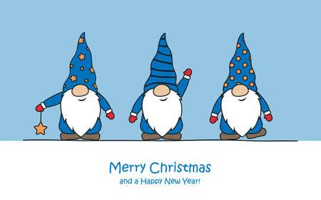 merry christmas greeting card with cute funny dwarf Иллюстрация