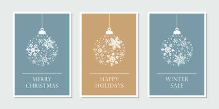 christmas card set with hangin ball decoratoin with snowflakes Иллюстрация