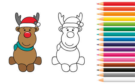 cute deer for coloring book with pencils