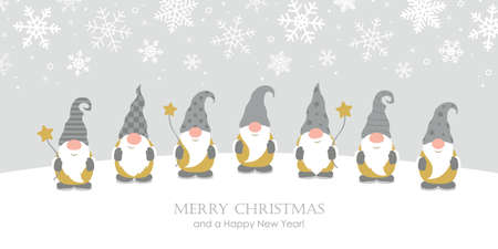 christmas greeting card with cute christmas dwarf and snowy landscape