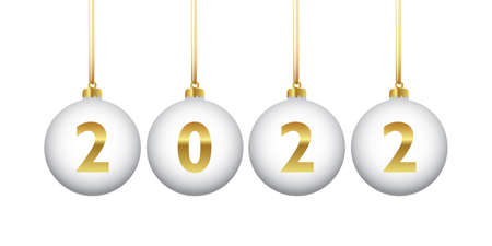 golden colored christmas balls 2022 isolated on white
