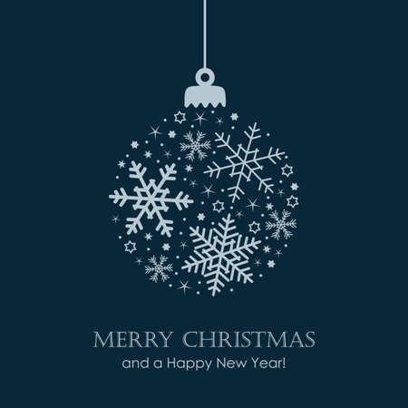 christmas ball with snowflake and star pattern Иллюстрация