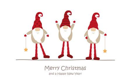 merry christmas greeting card with cute dwarf Иллюстрация
