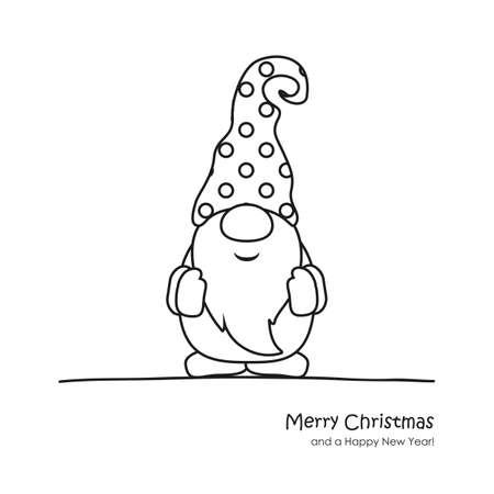 cute christmas dwarf cartoon for coloring book