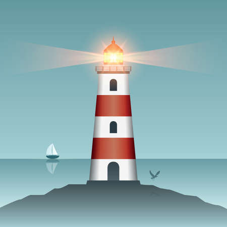 shining lighthouse at sunset with flying birds Иллюстрация