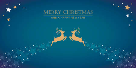 christmas greeting card with jumping deer on white