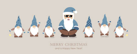 cool santa claus and his helper gnome christmas cartoon
